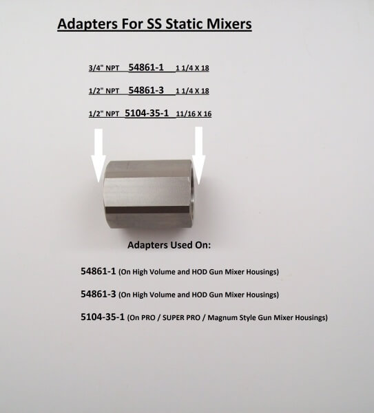 ADAPTER FOR SS STATIC MIXERS